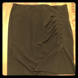 18W NY&Co Grey pencil skirt faux buttons up side